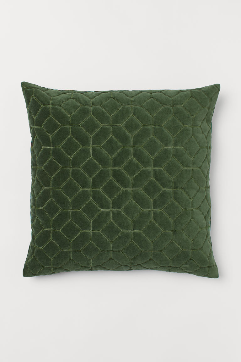 Quilted velvet cushion cover - Green - Home All | H&M CN