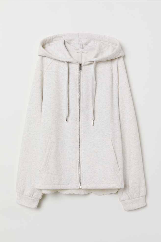 d52f0a89b Hooded Jacket with Embroidery - Light gray melange - Ladies | H&M ...