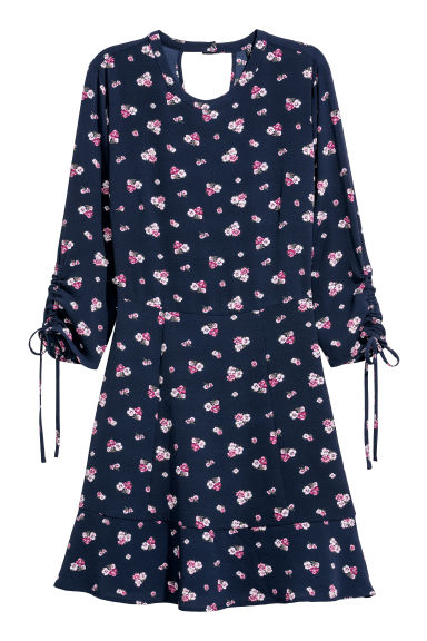 Crêpe dress - Dark blue/Floral - Ladies | H&M