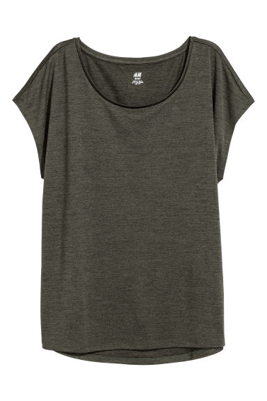 Sports top - Dark green marl - Ladies | H&M GB