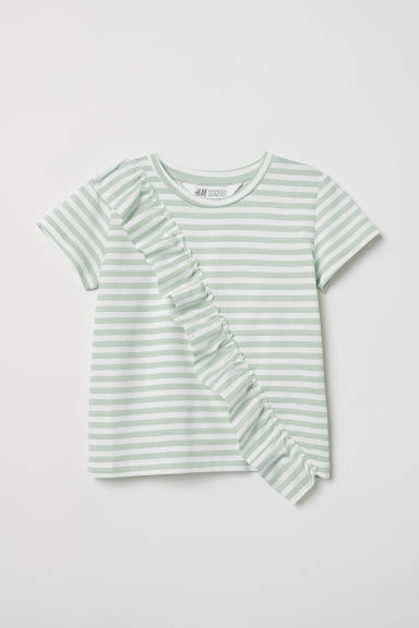 Top with a flounce - Light green/White striped - Kids | H&M