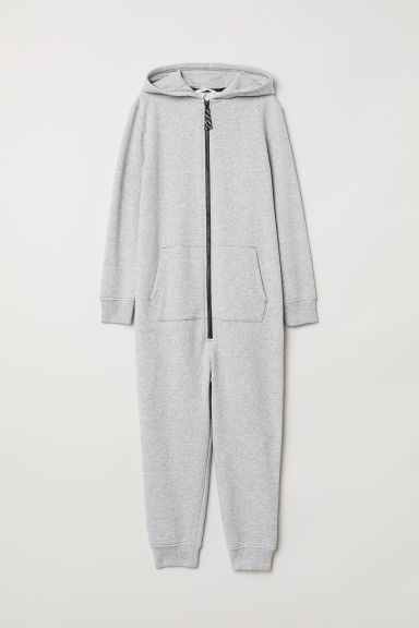 Hooded jumpsuit - Light grey marl - Kids | H&M