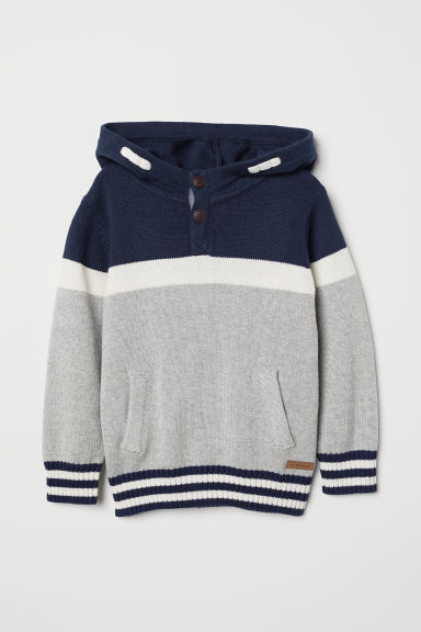 Knitted hooded jumper - Light grey/Block-coloured - Kids | H&M