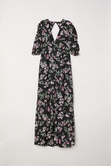Patterned long dress - Black/Floral - Ladies | H&M CN