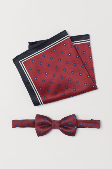 Bow tie and handkerchief - Dark red - Men | H&M CN