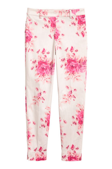 Cigarette trousers - White/Floral - Ladies | H&M CN