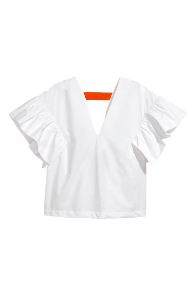 Flounced cotton blouse - White - Ladies | H&M IE