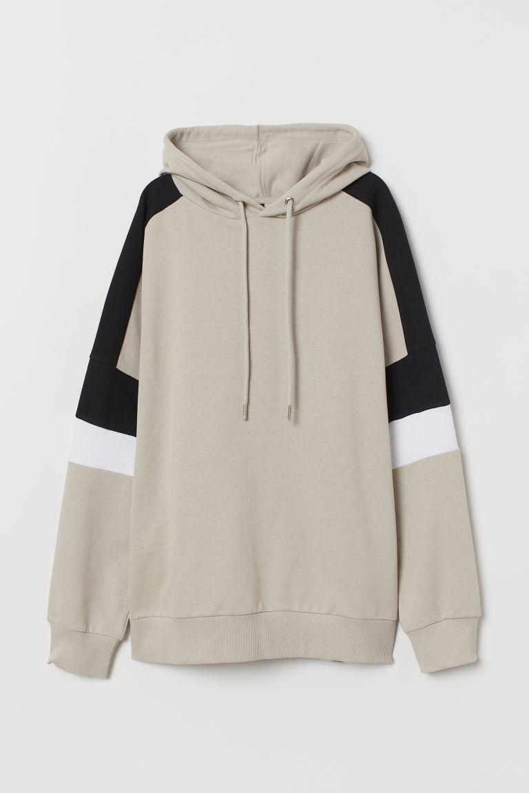 Sweat à capuche en coton - Beige/color block -  | H&M FR