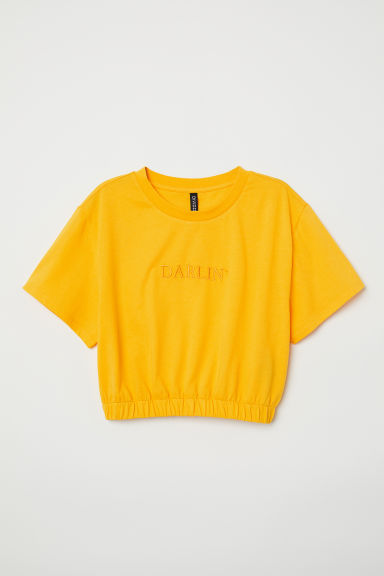 Short T-shirt - Yellow/Darlin' -  | H&M CN