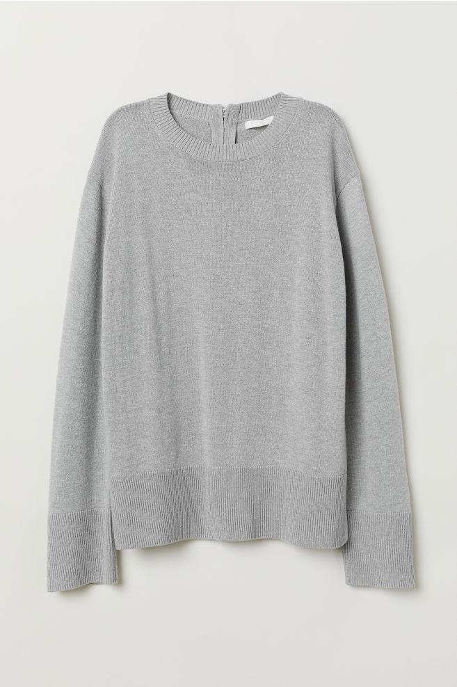 cc8aa491 Strikket genser - Lys grå - DAME | H&M ...