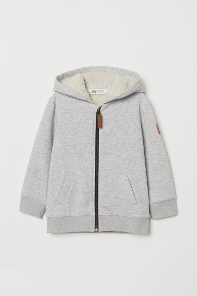 Lined hooded jacket - Grey marl - Kids | H&M