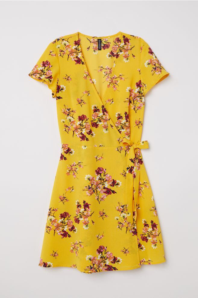 74496463b0710 Patterned wrap dress - Yellow/Floral - | H&M ...