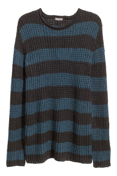 Textured-knit jumper - Black/Blue striped -  | H&M