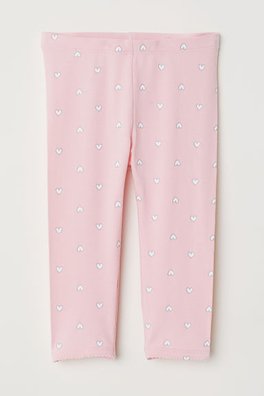 3/4-length leggings - Light pink/Glittery hearts - Kids | H&M