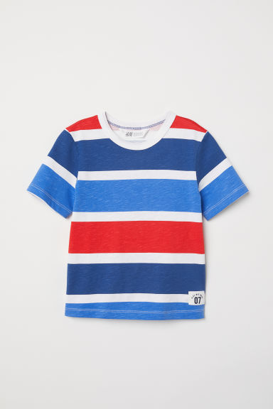 Slub jersey T-shirt - White/Striped -  | H&M