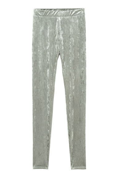 Crushed Velvet Leggings - Gray -  | H&M US