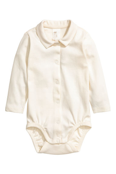 Bodysuit with a collar - Natural white -  | H&M