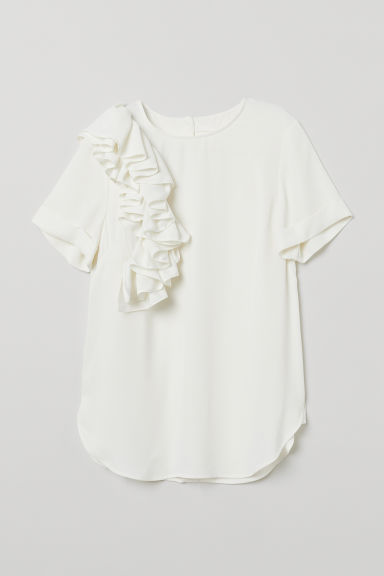 Flounced blouse - White - Ladies | H&M