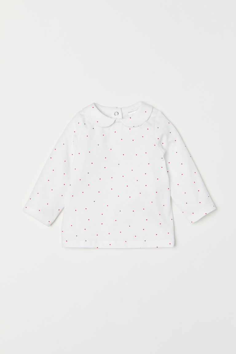 Top with a collar - White/Spotted - Kids | H&M CN