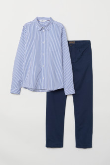 Shirt and twill trousers