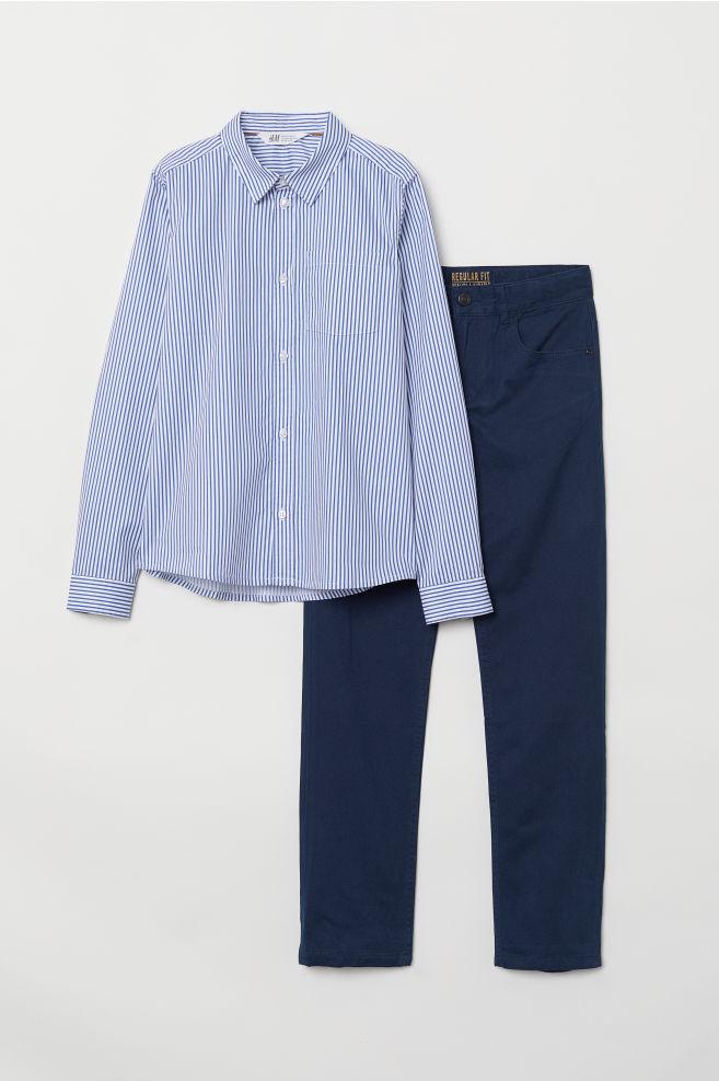 f0ae445c2 Shirt and Twill Pants - Blue/striped - Kids | H&M ...