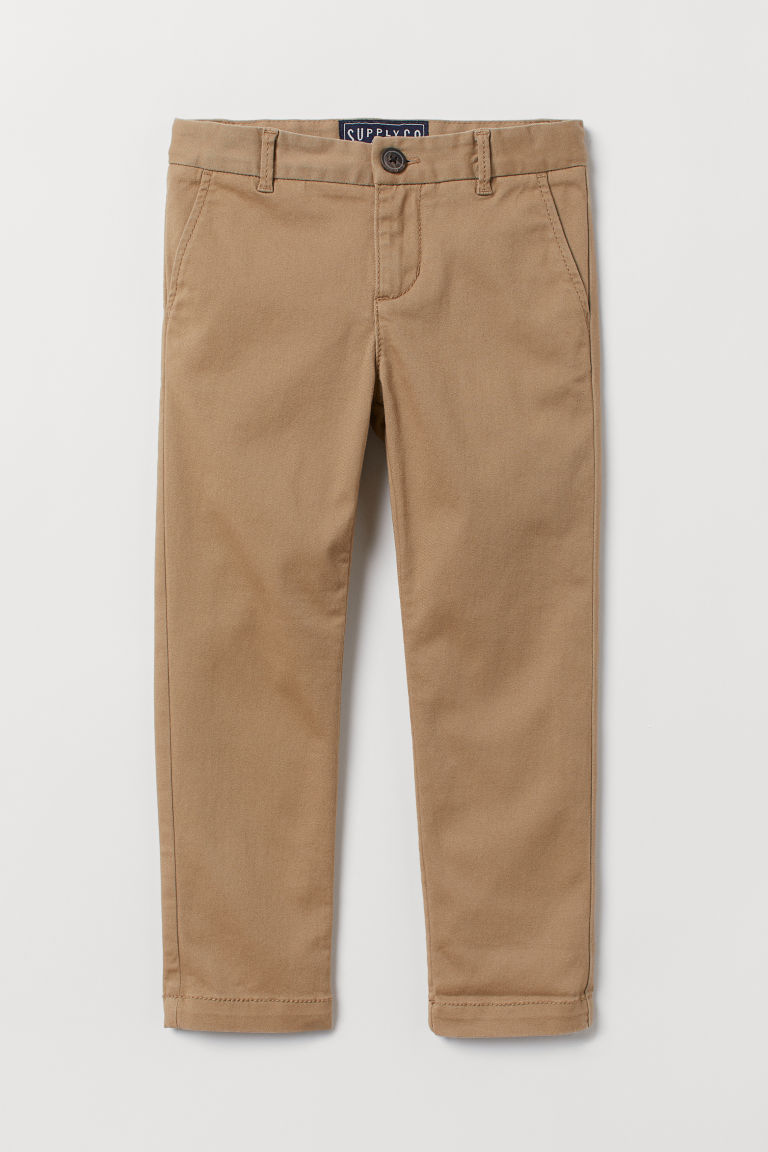 Cotton Twill Chinos - Dark beige - Kids | H&M CA