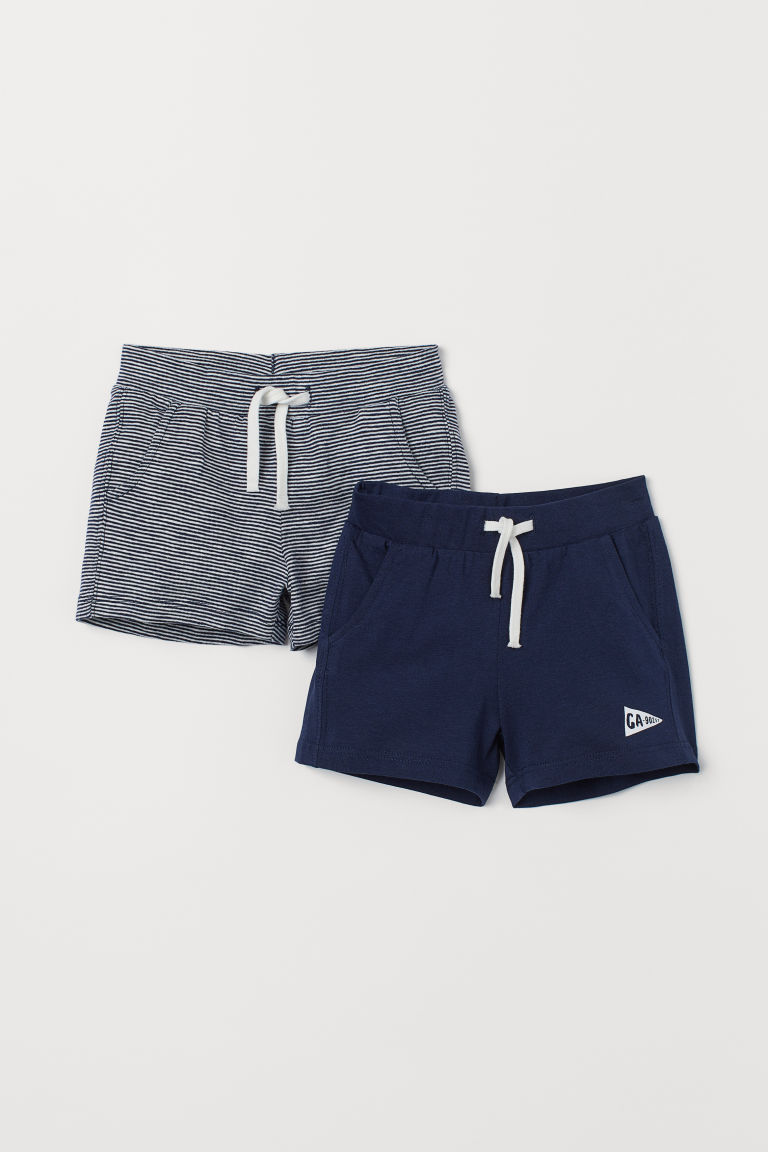 Shorts in jersey, 2 pz - Blu scuro/bianco righe - BAMBINO | H&M IT