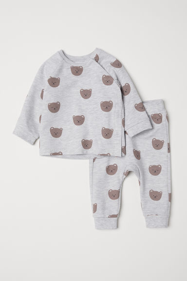 Top and trousers - Light grey marl/Bears - Kids | H&M
