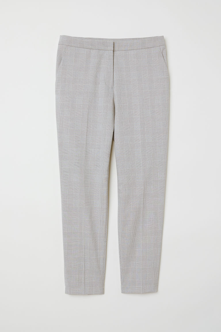 Tailored trousers - Light grey/Checked - Ladies | H&M CN