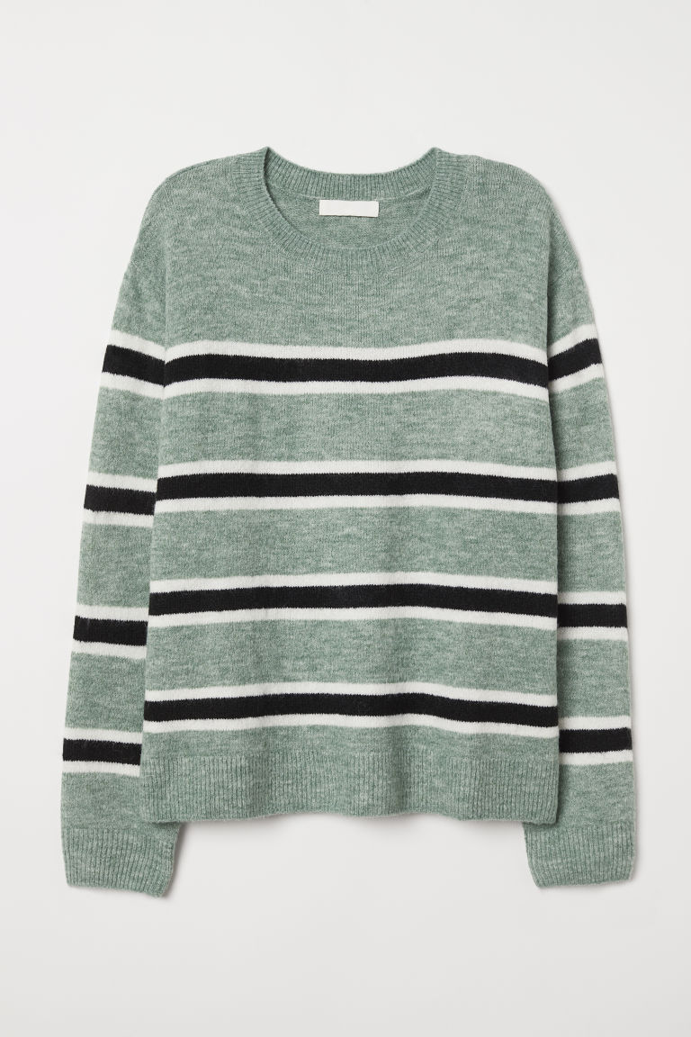 Fine-knit jumper - Green/Striped - Ladies | H&M