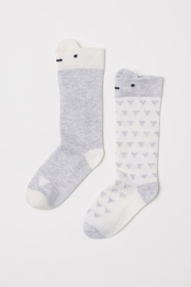 2-pack knee socks - White/Light grey - Kids | H&M