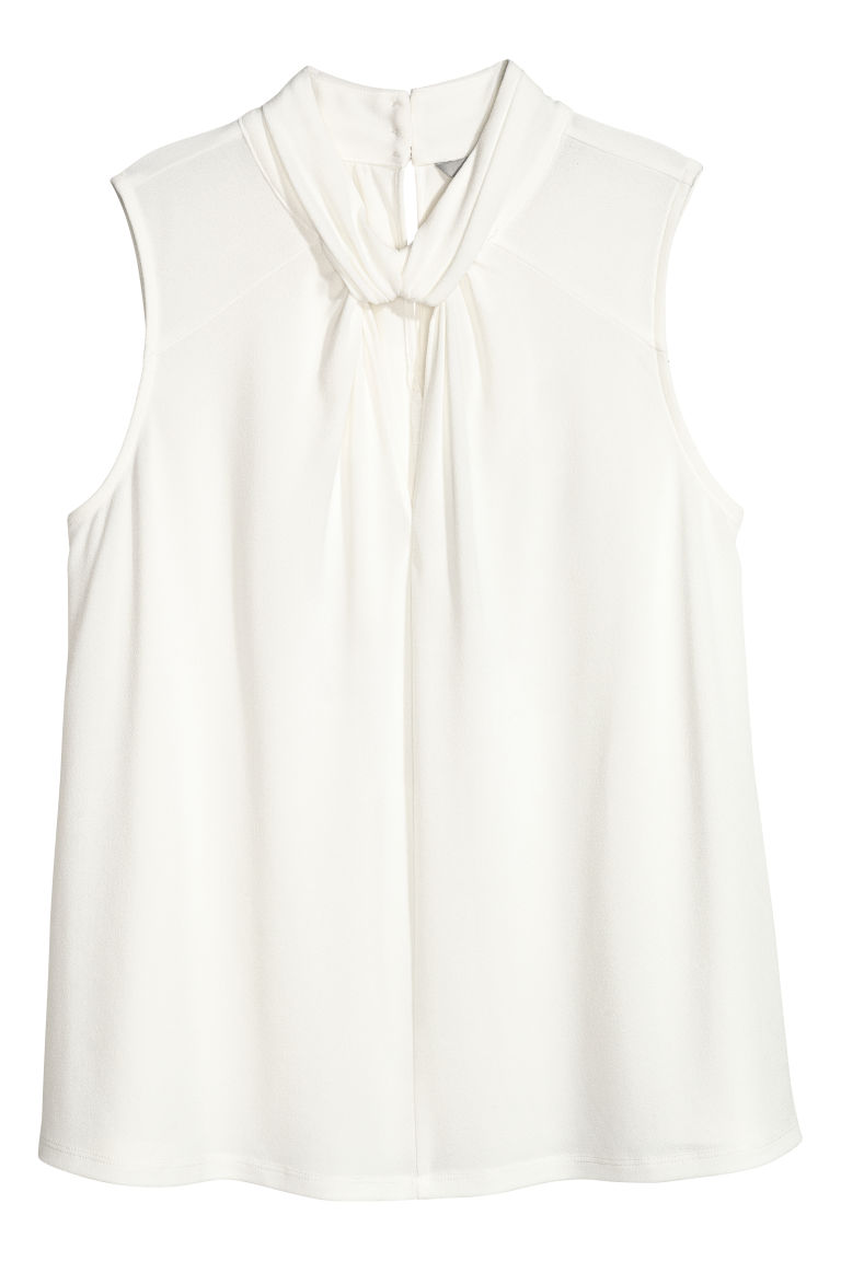 Jersey crêpe top - Natural white - Ladies | H&M