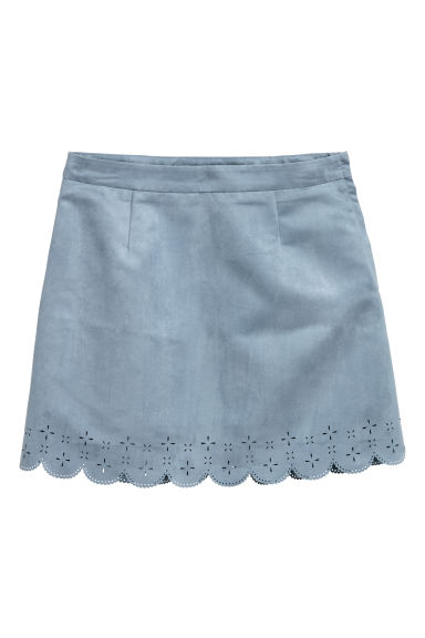 Imitation suede skirt - Light blue - Ladies | H&M CN