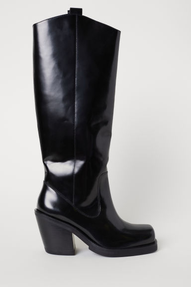 Knee-high leather boots - Black -  | H&M CN