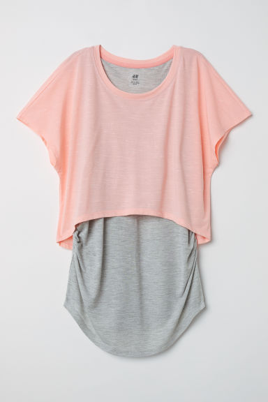 MAMA Double-layered sports top - Light pink/Grey marl - Ladies | H&M CN