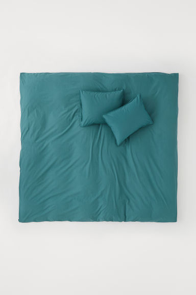 Washed cotton duvet cover set - Petrol - Home All | H&M CN