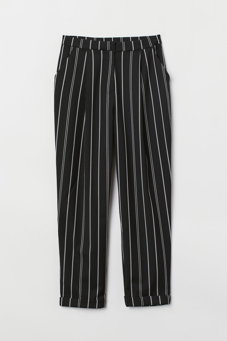 Tailored trousers - Black/White striped -  | H&M