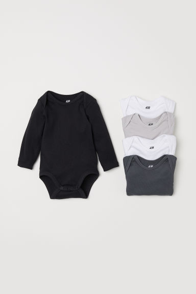 5-pack bodysuits - Black/Dark grey - Kids | H&M