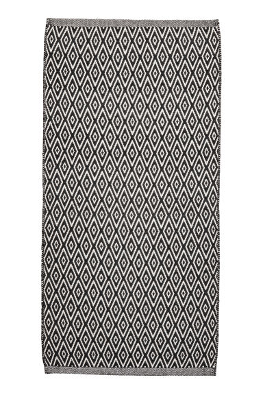 Jacquard-weave cotton rug - White/Anthracite - Home All | H&M CN
