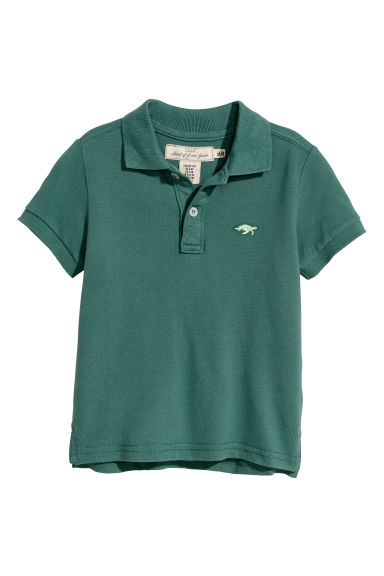 Piqué polo shirt - Dark green -  | H&M CN