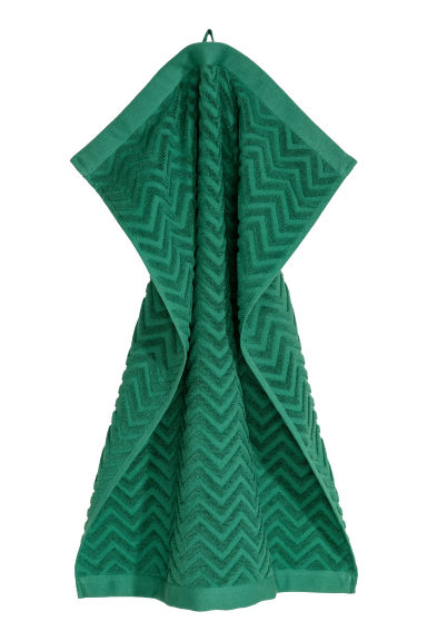 Jacquard-patterned hand towel - Dark green -  | H&M GB