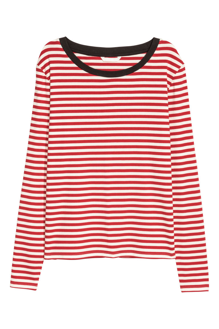 Striped jersey top - Red - Ladies | H&M IE