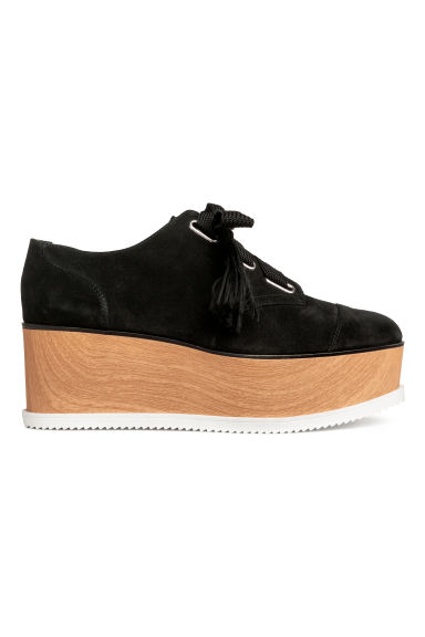 Suede platform shoes - Black -  | H&M