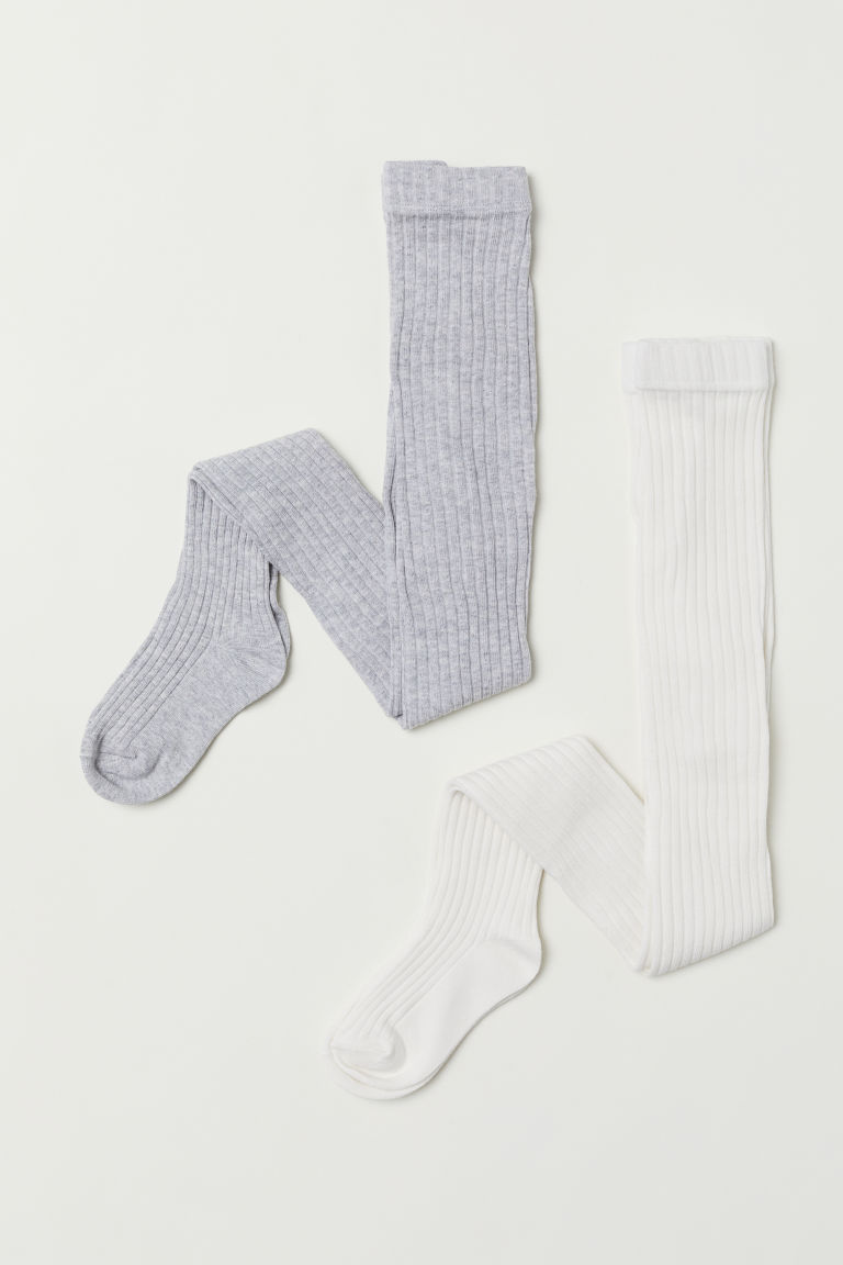 2-pack tights - Natural white/Grey - Kids | H&M CN