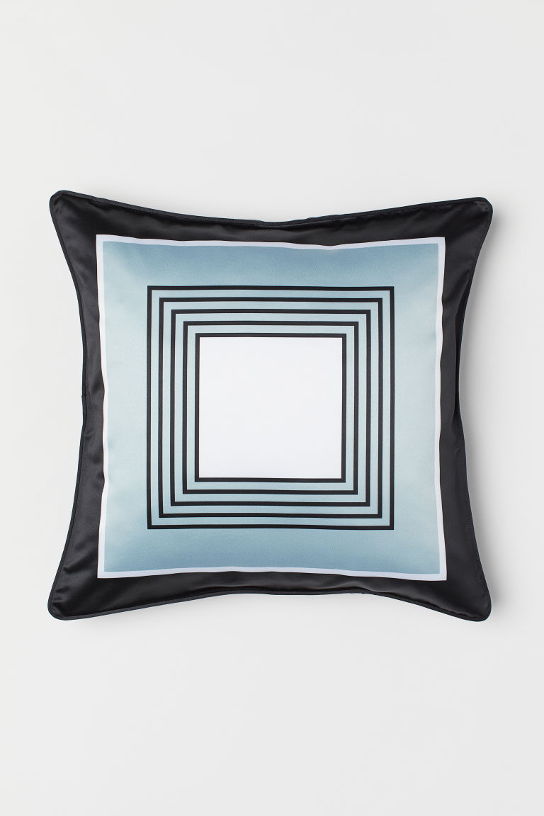 Satin cushion cover - Black/Light turquoise - Home All | H&M CN