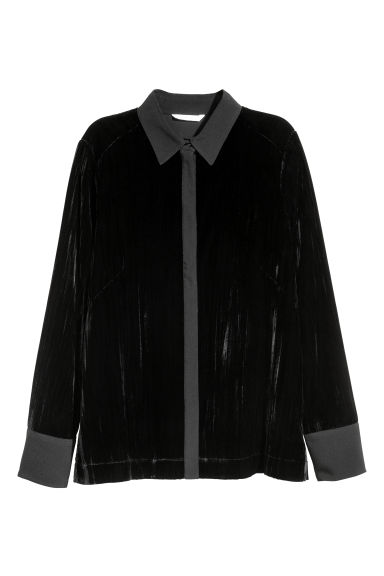 Long-sleeved blouse - Black -  | H&M