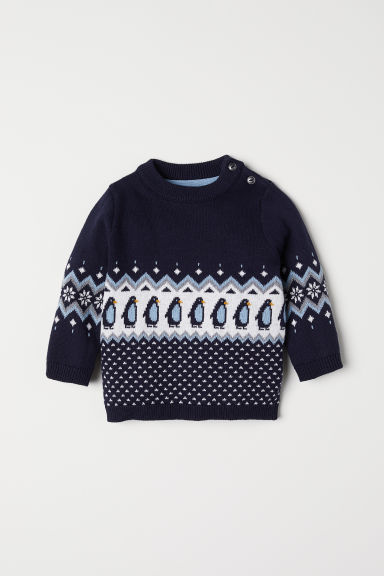 Jacquard-knit jumper - Dark blue/Penguins - Kids | H&M CN