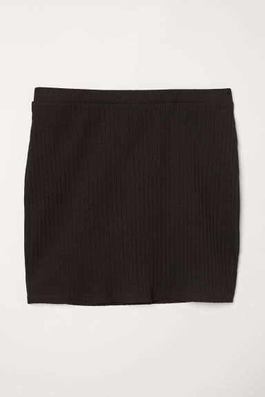Ribbed jersey skirt - Black -  | H&M