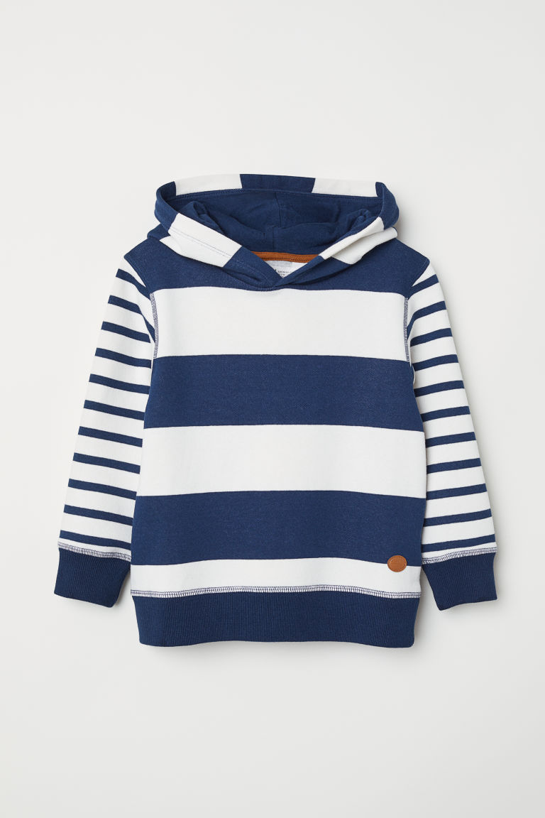 Printed hooded top - White/Blue striped - Kids | H&M CN