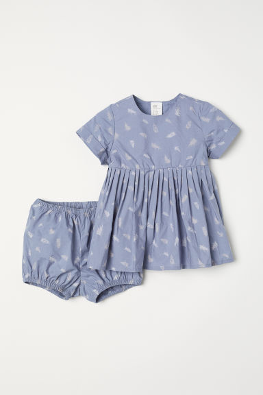 Dress and puff pants - Dusky blue/Feathers - Kids | H&M
